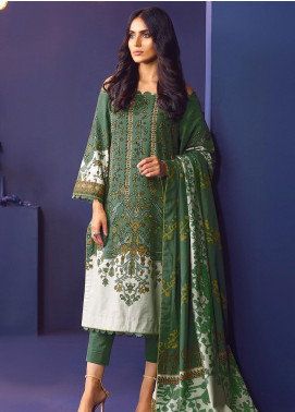 Al Karam Printed Khaddar Unstitched 3 Piece Suit AK20W FW-42-20 GREEN - Winter Collection