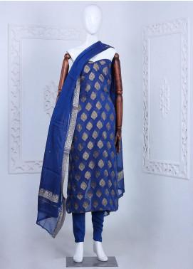 Al Rahim Banarsi Embroidered Chiffon Unstitched 3 Piece Suit ARB20CB Crepe Banarsi Chiffon Dark Blue 0264B - Formal Collection