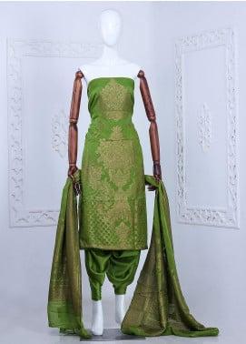 Al Rahim Banarsi Embroidered Chiffon Unstitched 3 Piece Suit ARB20CB Crepe Banarsi Chiffon Green BB0352 - Formal Collection