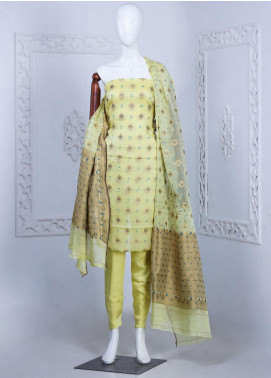 Al Rahim Banarsi Embroidered Chiffon Unstitched 3 Piece Suit ARB20CB Crepe Banarsi Chiffon Lime 0229B - Formal Collection