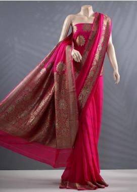 Al Rahim Banarsi Embroidered Chiffon Unstitched Saree ARB20MC 1153 Pink - Wedding Collection