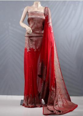 Al Rahim Banarsi Embroidered Chiffon Unstitched Saree ARB20MC RC1313 - Wedding Collection