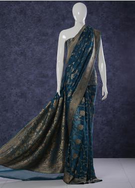 Al Rahim Banarsi Embroidered Chiffon Unstitched Saree Skirt Tyrle Jall - Festive Collection