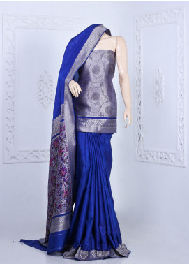 Al Rahim Banarsi Embroidered Katan Unstitched Saree ARB20S Katan 5 Shade - Festive Collection