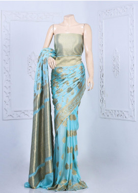 Al Rahim Banarsi Embroidered Chiffon Unstitched Saree ARB20S Skirt Style - Festive Collection