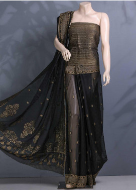 Al Rahim Banarsi Embroidered Chiffon Unstitched Saree ARB20S Crape Chiffon BC1195 Black - Festive Collection