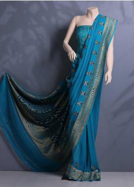Al Rahim Banarsi Embroidered Chiffon Unstitched Saree ARB20S Double Boarder 1169 - Festive Collection