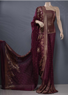 Al Rahim Banarsi Embroidered Missouri Unstitched Saree AR20S Heavy Zari Y1132 D Purple - Festive Collection