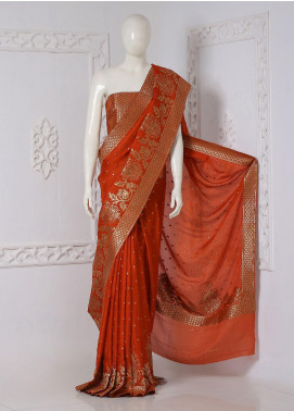 Al Rahim Banarsi Embroidered Chiffon Unstitched Saree Paisly Motifs Zari - Festive Collection