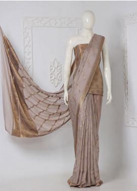 Al Rahim Banarsi Embroidered Chiffon Unstitched Saree Stripes Zari and Resham - Festive Collection