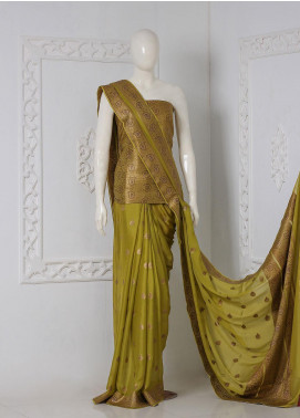Al Rahim Banarsi Embroidered Chiffon Unstitched Saree Zarbaft Zari and Resham - Festive Collection
