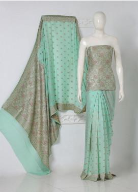 Al Rahim Banarsi Embroidered Chiffon Unstitched Saree Zari and Resham Boti - Festive Collection