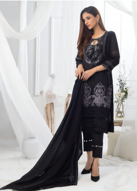 Al Zohaib Embroidered Lawn Unstitched 3 Piece Suit AZ20BW 10 - Black & White Collection