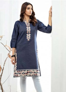 Al Zohaib Embroidered Denim Unstitched Kurties AZ19DT 01 - Formal Tunic Collection