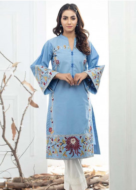 Al Zohaib Embroidered Denim Unstitched Kurties AZ19DT 02 - Formal Tunic Collection