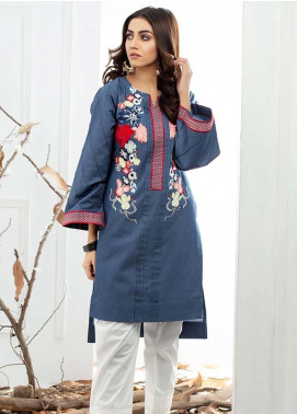 Al Zohaib Embroidered Denim Unstitched Kurties AZ19DT 03 - Formal Tunic Collection