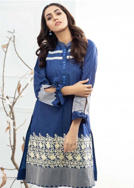 Al Zohaib Embroidered Denim Unstitched Kurties AZ19DT 04 - Formal Tunic Collection