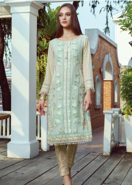 Al Zohaib Embroidered Chiffon Unstitched Kurties AZ20F D-03 - Formal Collection