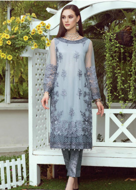 Al Zohaib Embroidered Net Unstitched Kurties AZ20F D-07 - Formal Collection