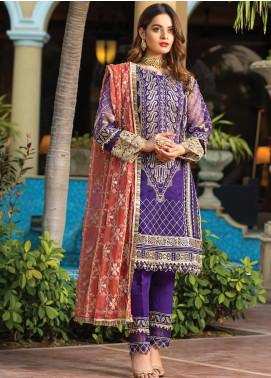 Al Zohaib Embroidered Organza Unstitched 3 Piece Suit AZ21FW D-08 - Wedding Collection