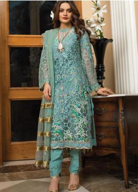 Al Zohaib Embroidered Organza Unstitched 3 Piece Suit AZ21FW D-09 - Wedding Collection