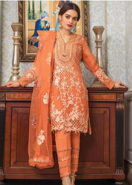 Al Zohaib Embroidered Organza Unstitched 3 Piece Suit AZ21FW D-10 - Wedding Collection
