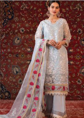 Al Zohaib Embroidered Organza Unstitched 3 Piece Suit AZ21FW D-11 - Wedding Collection