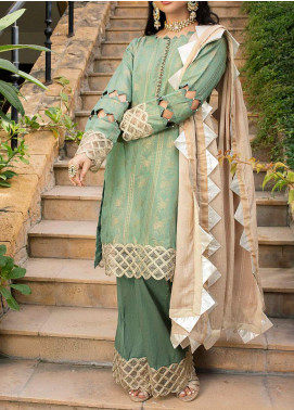 Al Zohaib Embroidered Jacquard Unstitched 3 Piece Suit AZ20JS 02 - Summer Collection