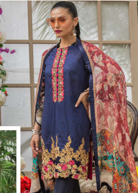 Al Zohaib Embroidered Lawn Unstitched 3 Piece Suit AZ19SA 4A - Spring / Summer Collection