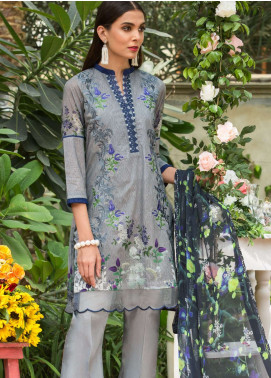 Al Zohaib Embroidered Lawn Unstitched 3 Piece Suit AZ19SA 5B - Spring / Summer Collection