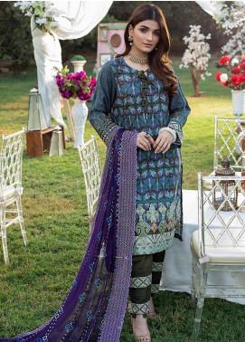 Sunshine Bloom by Al Zohaib Embroidered Cotton Satin Unstitched 3 Piece Suit AZ20CS 4B - Winter Collection