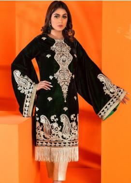 Al Zohaib Embroidered Velvet Unstitched Kurties AZ19V 02 Evangeline - Luxury Collection