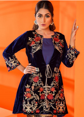 Al Zohaib Embroidered Velvet Unstitched Kurties AZ19V 03 Royal Glory - Luxury Collection