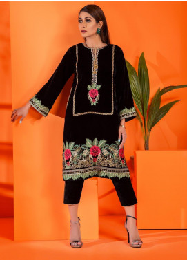 Al Zohaib Embroidered Velvet Unstitched Kurties AZ19V 05 Selina - Luxury Collection