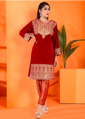 Al Zohaib Embroidered Velvet Unstitched Kurties AZ19V 06 Rosa - Luxury Collection