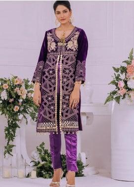 Velveto by Al Zohaib Embroidered Velvet Unstitched Kurties AZ20V 07 - Winter Collection