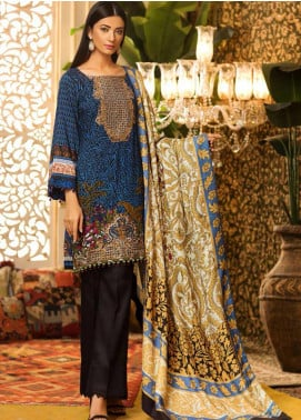 Al Zohaib Embroidered Linen Unstitched 3 Piece Suit AZ19W 03A - Winter Collection