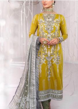 Al Karam Embroidered Cotton Satin Unstitched 2 Piece Suit AK20FC-15G Mustard - Festive Collection