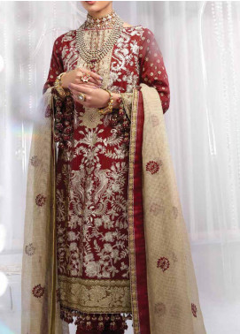 Al Karam Embroidered Cotton Unstitched 3 Piece Suit AK20FC-7C Dark Red - Festive Collection