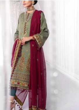 Al Karam Embroidered Cotton Unstitched 3 Piece Suit AK20FC-8C Olive Green - Festive Collection