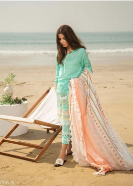Ala Rasi Printed Lawn Unstitched 3 Piece Suits AR20L 21 OCEAN'S BLUE - Summer Collection