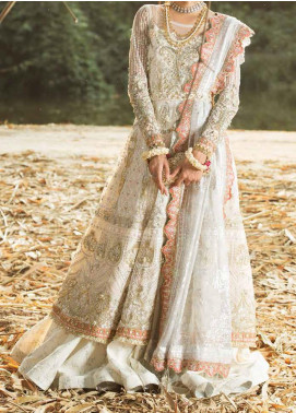 ALIF by AJR Couture Embroidered Net Unstitched 3 Piece Suit AJR20A 01 Jasmine - Luxury Collection