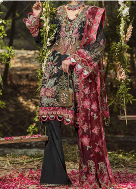 ALIF by AJR Couture Embroidered Organza Unstitched 3 Piece Suit AJR20A 02 Iris - Luxury Collection