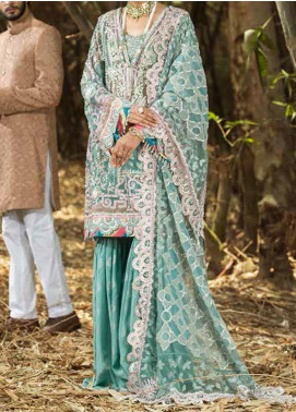ALIF by AJR Couture Embroidered Net Unstitched 3 Piece Suit AJR20A 03 Rosemary - Luxury Collection