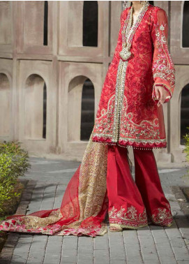 ALIF by AJR Couture Embroidered Organza Unstitched 3 Piece Suit AJR20A 04 Rosewood - Luxury Collection