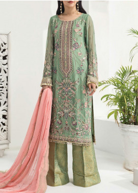 Alizeh Fashion by Bilal Embroidered Chiffon Unstitched 3 Piece Suit BL20A 01-DAISY LAVENDER - Luxury Collection