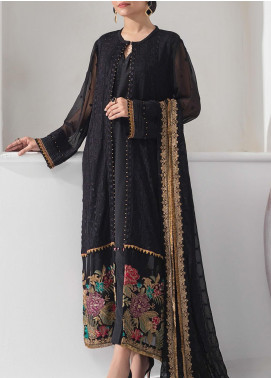Alizeh Fashion by Bilal Embroidered Chiffon Unstitched 3 Piece Suit BL20A 02-MIDNIGHT GLARE - Luxury Collection