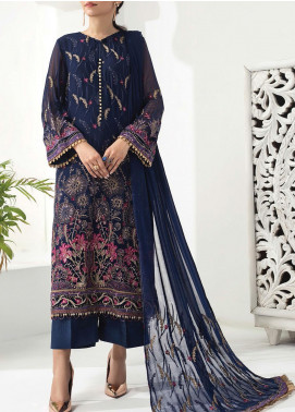 Alizeh Fashion by Bilal Embroidered Chiffon Unstitched 3 Piece Suit BL20A 04-DREAMY SAPPHIRE - Luxury Collection
