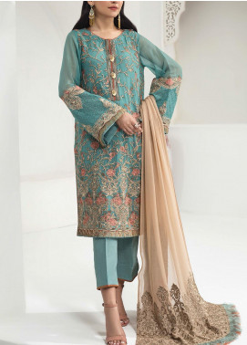Alizeh Fashion by Bilal Embroidered Chiffon Unstitched 3 Piece Suit BL20A 05-TIFFANY GLAM - Luxury Collection
