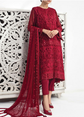 Alizeh Fashion by Bilal Embroidered Chiffon Unstitched 3 Piece Suit BL20A 06-THE HEARTTHROB RED - Luxury Collection